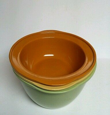 Vintage Stoneware Bowls 2 4 6 Qt Quart Brown Yellow Green Nesting Set Marked