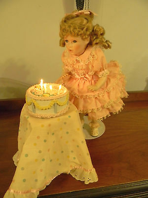 Happy Birthday Amy Porcelain Doll WithcCake, Stand & Tablecloth by Gorham