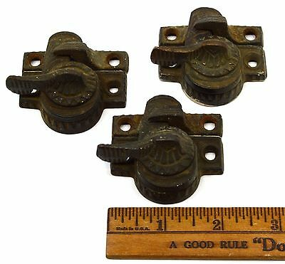 Antique CAST IRON & BRASS WINDOW LOCK Lot of 3 ORNATE SASH LOCKS Latches c.19th