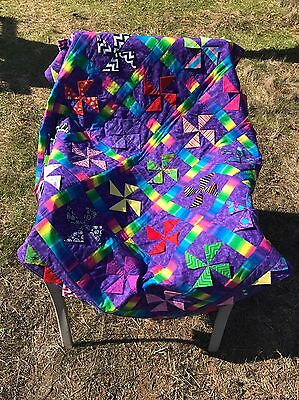 "New Purple Adorable Bugs Handcrafted Baby/Lap/Crib Quilt 46"" X 52"""