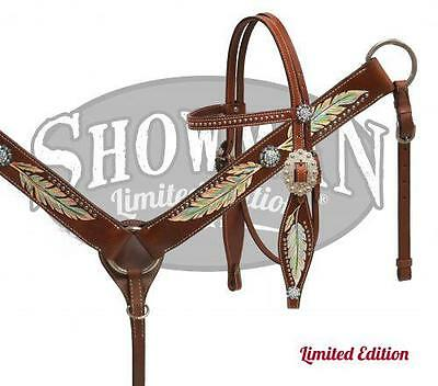 Showman LIMITED EDITION Headstall & Breast Collar Set W/ Painted feathers! TACK!