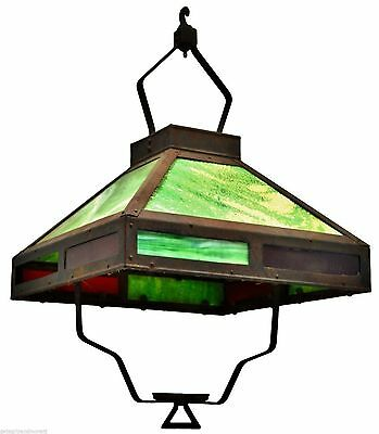 Antique GAS LANTERN SHADE Ceiling Hung STAINED GLASS & WROUGHT IRON c.19th RARE!