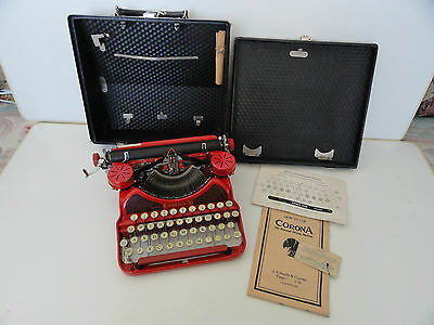 Vintage L.C. Smith & Corona Red Typewriter with case and extras