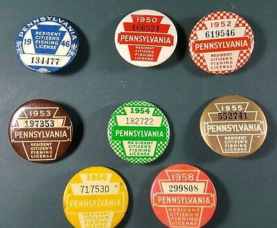 LOT OF VINTAGE Pennsylvania PA Fishing License Button Pins