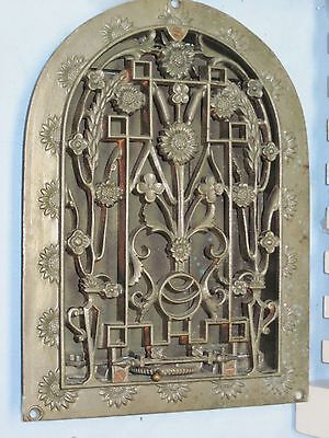 Antique Cast Iron Arch Top Dome Heat Grate Wall Register Old Vintage FLOWERS