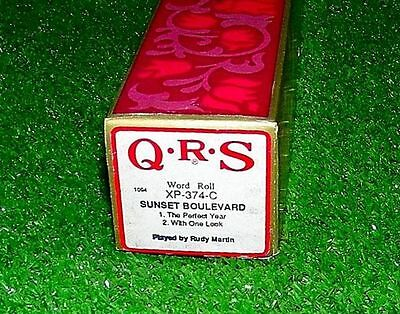 Vintage QRS Piano Word Roll Sunset Boulevard XP-374-C RARE Excellent Tested