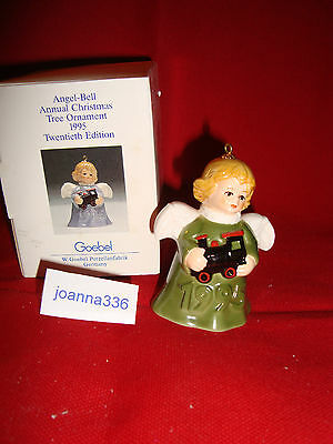 Goebel 1995 Angel Bell Ornament Green With Train Mint In Box -New