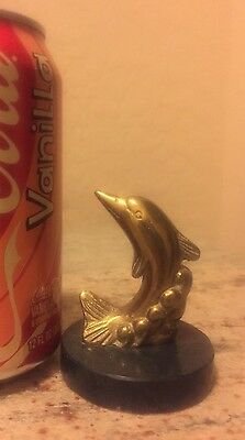 "2 3/4"" Vintage DOLPHIN IN Wave solid BRASS figure"