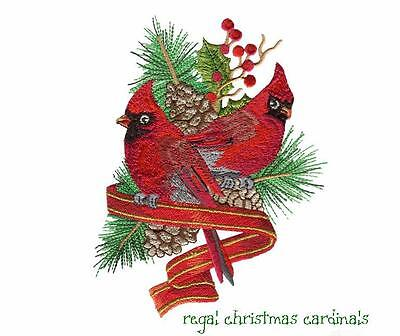 Regal Christmas Cardinals Collection  ~ Designs In Machine Embroidery On Cd