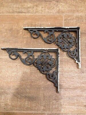 Pair Of Antique Cast Iron Fancy Open Work Ornate Shelf Bracket Victorian