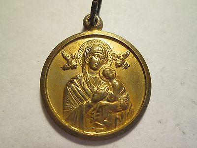 Vintage Antique Brass Vaticano  Our Lady Of Perpetual Religious Medal  Lot # 89-