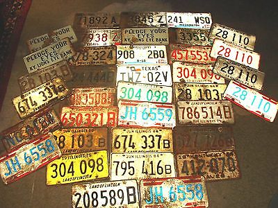 VINTAGE lot of 33 LICENSE PLATES FROM KY-ILL-MISS-TEXAS+ MORE--1966 & UP!