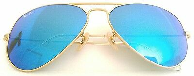 New Authentic Ray Ban Aviator RB3025 112 / 17 58mm Gold Frame Blue Mirror  Lens