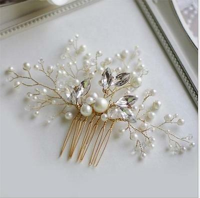 Gold Beaded Crystal Floral Vine Bridal Hair Comb Pearl Vine Wedding Headpieces