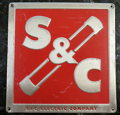 Vintage S&C ELECTRIC COMPANY (Chicago) Red Brass Metal Sign
