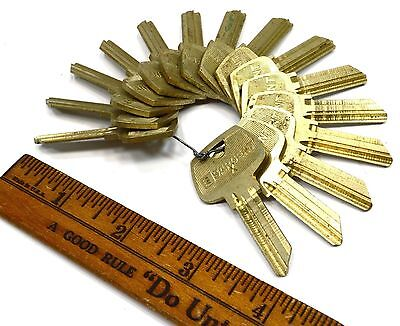 Vintage SARGENT KEY BLANKS Lot of 15 UNCUT BRASS KEYS Locks PADLOCK Light Patina