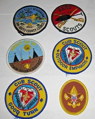 Lot of 6 Boy Scout Patches - Aero Scouts, Good Turn, Outdoor Emphasis, Etc.