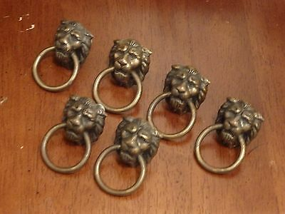 Lot of 6 Salvaged Bronze Tone Lion Head Drawer Pulls Knobs. (cat atinqued ring