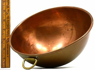 "VTG/Antique FRENCH CHOCOLATE BOWL 8"" Mixing/Melting HEAVY COPPER w/ BRASS RING!!"