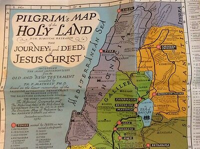 Jerusalem Pilgrims Map of the Holly Land for Biblical Research 1942