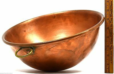 "VTG/Antique FRENCH CHOCOLATE MIXING BOWL 12"" Thick HEAVY COPPER!! w/ BRASS RING"