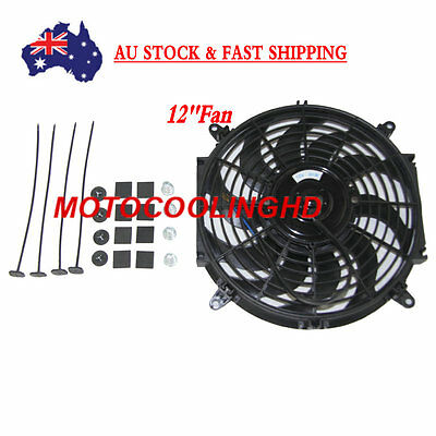 Great 12inch 12V PULL/PUSH SILM RADIATOR ELECTRIC THERMO FAN + MOUNTING KITS