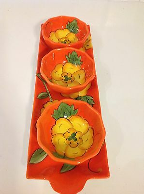 """Temptations Four Piece Dip Dish New And Unused """"Poppy"""""""