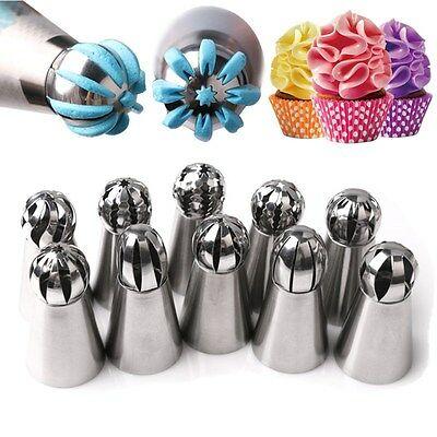 10pcs Russian Icing Piping Nozzles Tips Cake Decorating Sugarcraft Pastry Tools