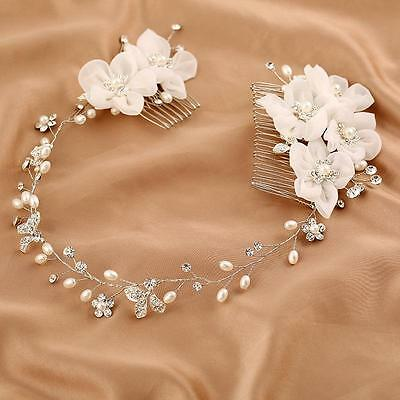 Elegant Chiffon Floral Bridal Halo Crystal Vine Pearl Beaded Wedding Hair Comb