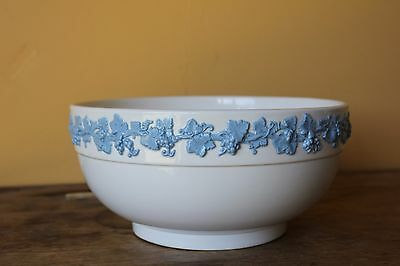 Wedgwood Embossed Queens ware. Blue on Cream  large Bowl.