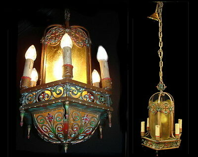 Large Antique Art Deco Polychrome Mica Theater Chandelier Ceiling Light Fixture