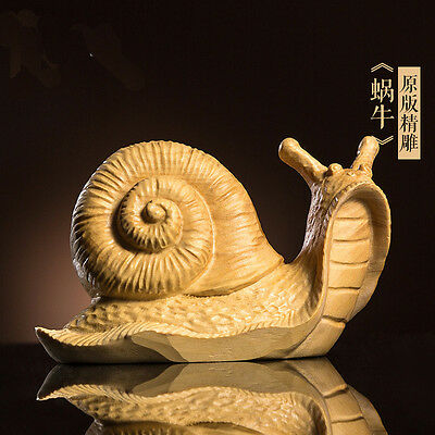 TL028 --- 9*4.2*5.5 CM Detailed Carved Boxwood Carving Figurine - Big Snail