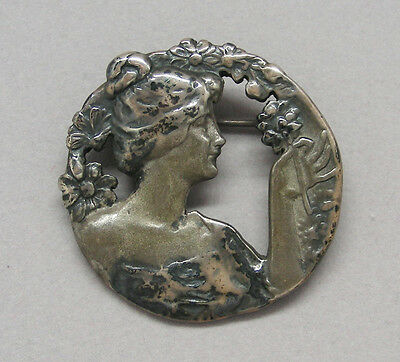 antique ART NOUVEAU LADY round PIN BROOCH sterling silver