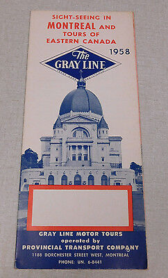 1958 The Gray Line bus tour Table Montreal and Eastern Canada