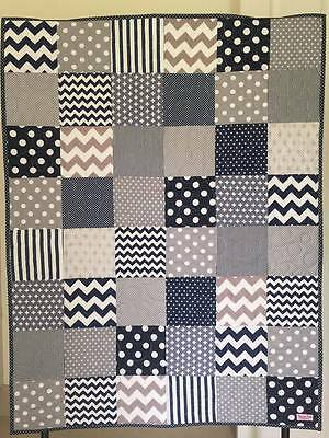 handmade baby boy cot quilt playtime blanket navy blue grey geometric chevron
