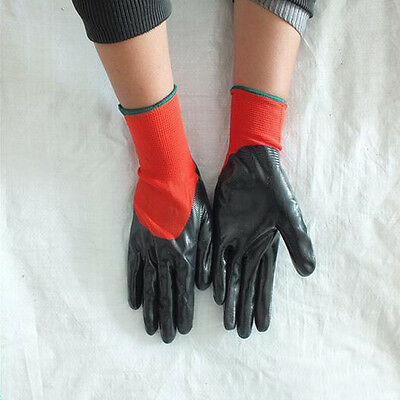 BLACK RED WORK GLOVES NITRILE COATED BUILDERS MECHANIC 1 Pair Free Size 23CM