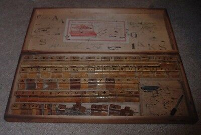Antique FULTON Sign & Price Markers Stamp Kit 83 Total In Wooden Case Letters