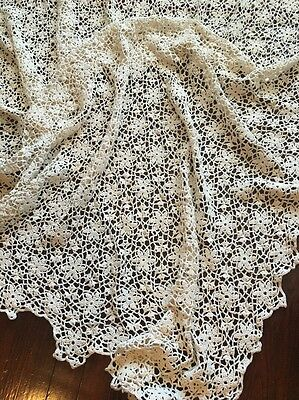 Vint Crochet Hand Made Crafted Cotton Off White Beige Dinner Table Bed Cover*
