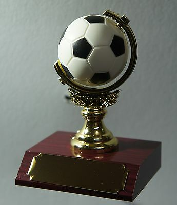 1 X SOCCER SPINNING BALL TROPHY,MEDAL,AWARD 105mm High, FREE ENGRAVING