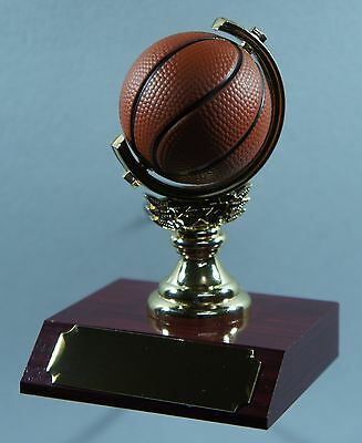 1 X BASKETBALL SPINNING BALL TROPHY 105mm High, FREE ENGRAVING