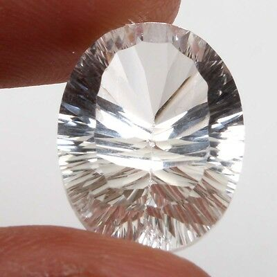 Natural 18x13 mm CRYSTAL QUARTZ CONCAVE CUT Oval Gemstone 9.5 Cts s-18017