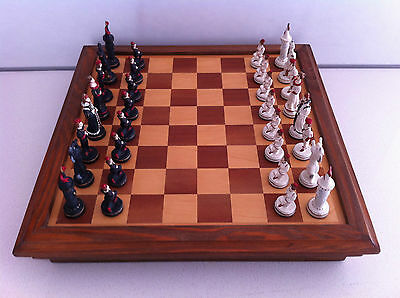 Czech Chess Set Hand Painted Medieval Theme with Wooden Board/Case