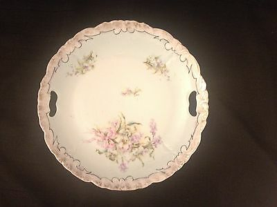 Beautiful Old Floral 9 inch Platter w/handles