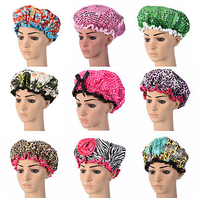 Women Ladies Waterproof Double Shower Bathing Salon Hair Cap Elastic Band Hat