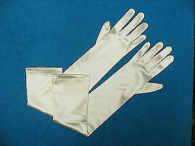 #G45 Ivory Shiny Satin Formal Bridal Wedding GLOVES  - 19 inches long