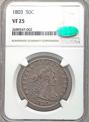 1803 Draped Bust Silver Half Dollar NGC + CAC VF25 Very Fine Type Coin Overton