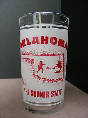 """"""" OKLAHOMA - THE SOONER STATE """" Souvenir Glass by Federal Glass Co.:  FREE SHIP!"""