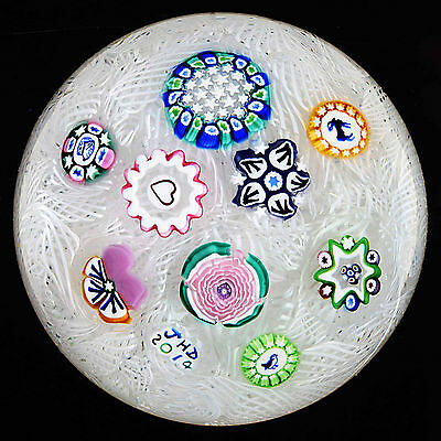 Small John Deacons Scattered Millefiori Canes on White Lace