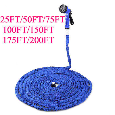 75FT Magic Water Pipe Household Telescopic Hose Car Washing Gun Spray Nozzle