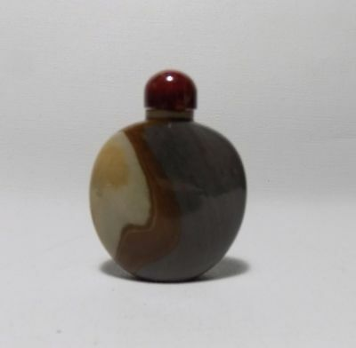 Vintage Chinese Agate Snuff Bottle Cream Red Yellow Brown Grey Lines Red Top